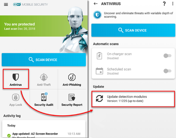 ESET Mobile Security & Antivirus for Android devices.